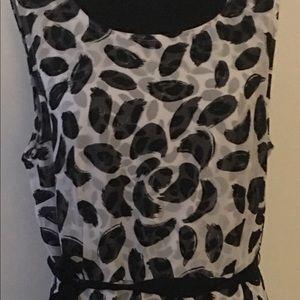 Lane Bryant Black/White sleeveless dress w/tie